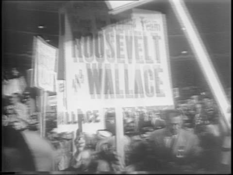 Men and women head into Henry A Wallace Convention Headquarters / Sen Harry S Truman rides a train looks out window raises earpiece / Iowa's judge...