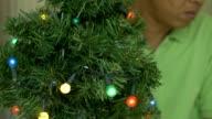 Mannen zijn de kerstboom versieren.