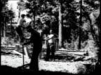 1936 MONTAGE Men chopping wood and erecting fence / United States