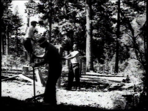 1936 MONTAGE Men chopping wood and erecting fence / United States