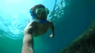 Men diver snorkeling underwater