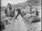 Men in a field of barley / man pointing on top of a hill / boy walking leading a mule / sheep running through a field / footage form 1937 dustbowl...