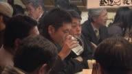 CU Men in restaurant, Tokyo, Japan