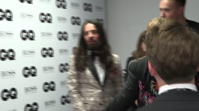 Red carpet interviews GQ Man of the year Award Winners room Bear Grylls and David Walliams posing with awards Bear Grylls and David Walliams...
