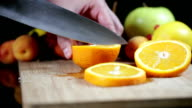 SLO MO Men slicing orange