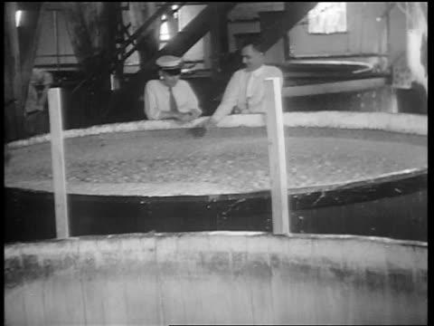 B/W 1932 2 men sticking fingers in large vat of foamy liquid / whiskey production / Louisville KY