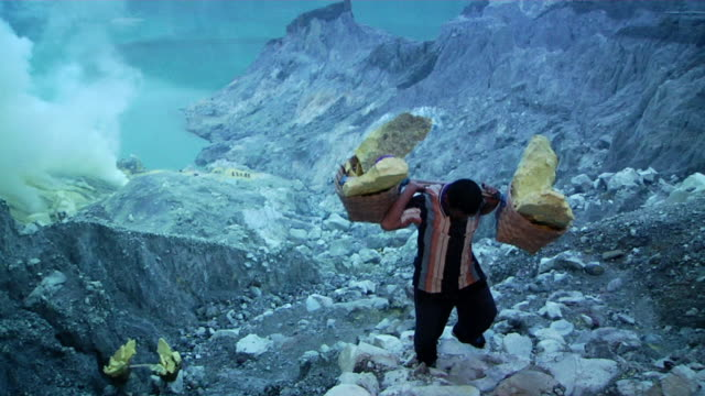 MS Men walking to the sulfur mining at early morning / Ijen, Java, Indonesia