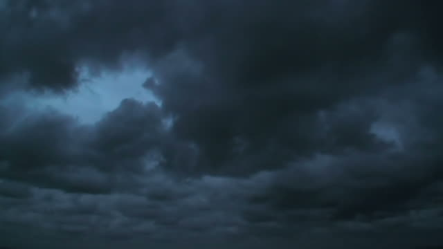 Menacing stormy dark clouds moving in fast motion timelapse; background