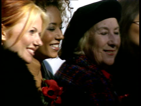 Victoria Adams LIB Royal Albert Hall EXT Spice Girls Dame Vera Lynn posing for press at poppy appeal launch Emma Bunton speech SOT We need you all to...