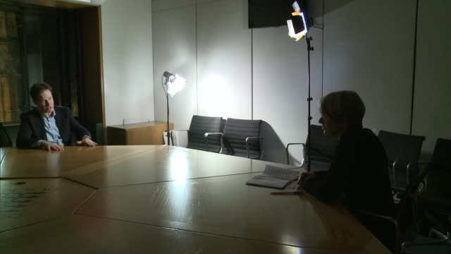 Mental health care trusts cutting beds Stephen Hollings interview as becomes upset SOT Former Deputy Prime Minister Nick Clegg sitting at table in...
