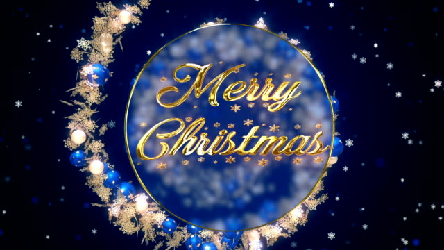 Merry christmas blue ornaments
