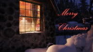 Merry christmas house and snow
