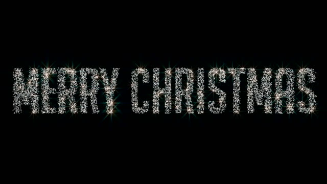 Merry Christmas shining dimond particle text animation 4K