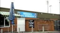 Merton Council say they want AFC Wimbledon to return to the borough ENGLAND Surrey KingstonuponThames Kingsmeadow EXT 'Welcome to AFC Wimbledon' sign...