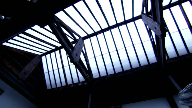 Metal beams line the glass ceiling of the Glasgow School of Art. Available in HD.