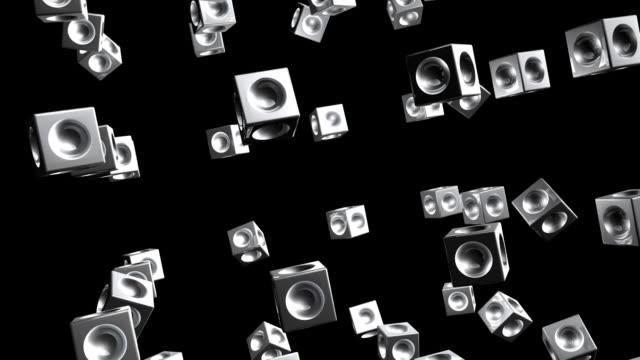 Metal Cubes Rotating Randomly (Loopable)