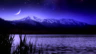 Meteor over lake and mountains