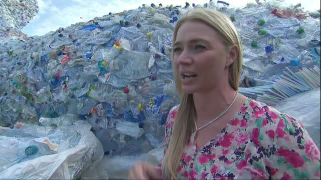 A 10 metre whale made from plastic bags bottles and straws began a journey across the UK today starting by the River Thames in London It's part of...