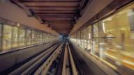 WS POV Metro rail riding underground station / Dubai, United Arab Emirates