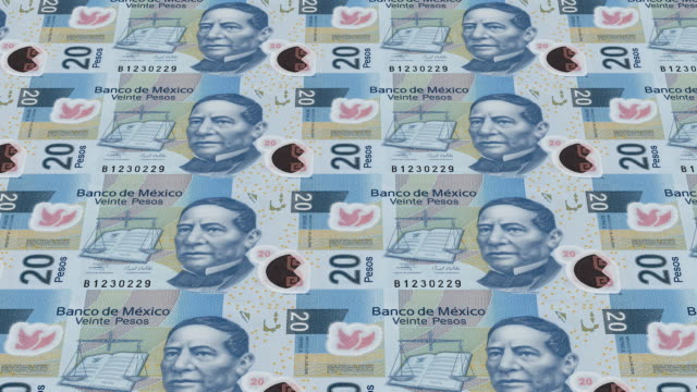 mexican pesos bills printing - animation