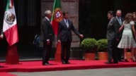 Mexican President Enrique Pena Nieto meets his Portuguese counterpart Marcelo Rebelo de Sousa during a reception ceremony at the Palacio Nacional in...