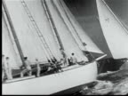 1948 B/W MONTAGE Miami to Nassau sailing yacht race. Large sailboats under sail plunging into water w/ crews on deck / Florida, USA