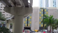 Miami, United States: Point of view of the downtown district with the Metro Rail elevated tracks for the public transit
