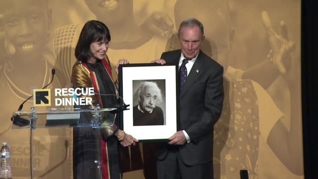 SPEECH Michael Bloomberg accepts honor talks about refugees who have served the USA at International Rescue Committee 2017 'Rescue Dinner' at Hilton...