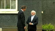 Michael D Higgins meets David Cameron at Downing Street **Copyright audio heard SOT** Different angle of Higgins arriving and posing for photocall...