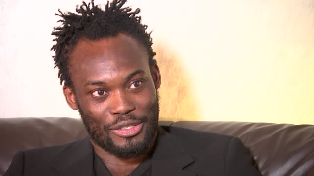 Michael Essien holds charity auction to raise money for Ebola victims Essien interview ENGLAND London INT Michael Essien interview SOT TONIGHT...