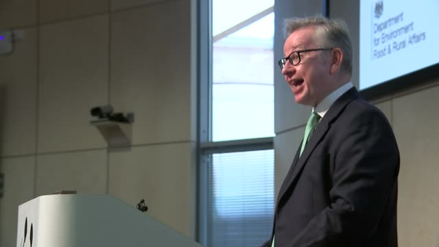 Michael Gove press conference cutaways / interview ENGLAND Surrey Woking WWF Living Planet Centre INT Michael Gove MP press conference / CUTAWAYS...