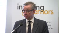 Michael Gove Secretary of State for Education gives speech at Guildhall Art Gallery Inspiring Governors Then iv RE Nick Clegg rift on May 15 2014 in...