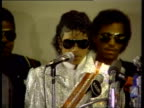 Michael Jackson announces at press conference that he will donate all profit from performance to charity