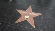CU TU WS Michael Jackson's star and Hollywood Boulevard / Los Angeles, California, USA