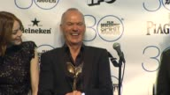 SPEECH Michael Keaton Emma Stone and Alejandro González Iñárritu at 30th Annual Film Independent Spirit Awards Press Room at Santa Monica Beach on...