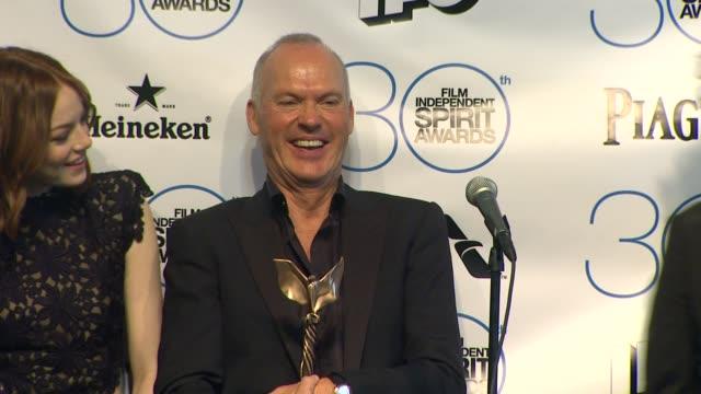 SPEECH Michael Keaton Emma Stone and Alejandro González Iñárritu at 30th Annual Film Independent Spirit Awards Press Room at Santa Monica Beach on...
