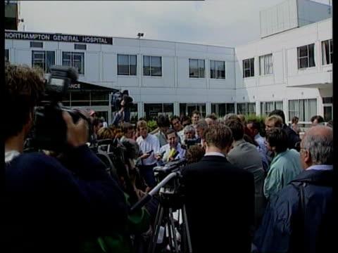 Michael Schumacher in hospital ENGLAND Northamptonshire Northampton Press gathered outside Northampton General Hospital whwre Michael Schumacher is...