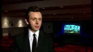 INT Michael Sheen chatting to Christopher Lee Sheen interview SOT Should be seen in a cinema of course Seems to be an argument about money People...