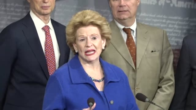 Michigan Senator Debbie Stabenow attacks Republican plans for tax reform at a briefing with Senate Democrats because only 18 percent of Americans are...