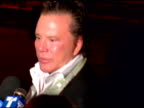 Mickey Rourke discussing what the festival means to NYC and on what he is looking forward to the most at the party a 'Red head' at the 2006 Tribeca...