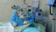 Microsurgeon operates an eye