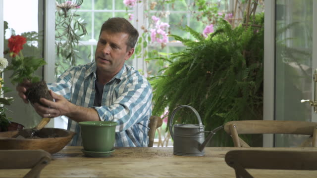 Mid adult man planting a flower in a pot