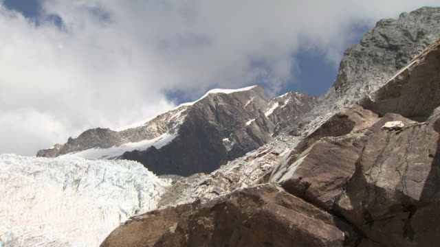 Mid of rocky Huayna Potosi glacier in Andes Region of Bolivia