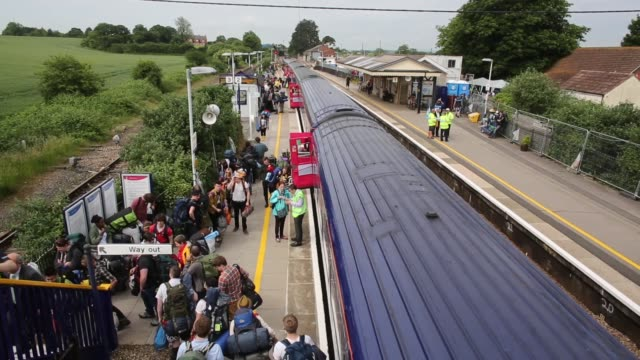 Mid shot arrivals at Castle Cary Train Station