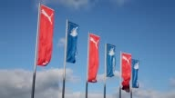 Mid Shot flags are seen in front of the Wirsol RheinNeckar Arena prior to the Bundesliga match between TSG 1899 Hoffenheim and Hertha BSC Berlin at...