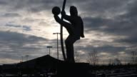 Mid Shot football player sculpture in front of the stadium General Views of the Wirsol Rhein Neckar Arena prior to the Bundesliga match between 1899...