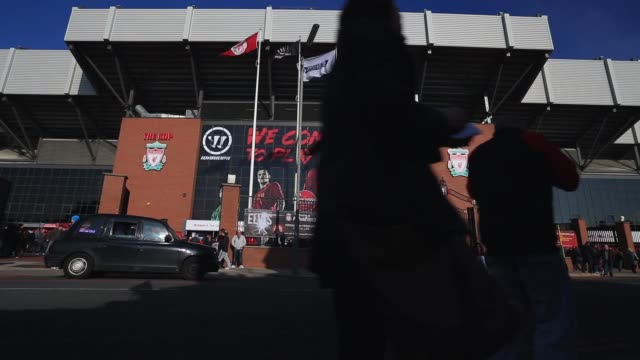 Mid shot front entrance to Anfield Stadium Liverpool v Swansea on February 17 2013 in Liverpool England