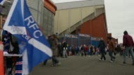 Mid shot of fans gathering outside of the Ibrox stadium Rangers v Berwick Rangers IRNBRU Scottish Third Division at Ibrox Stadium on May 04 2013 in...