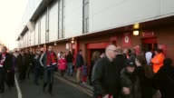 Mid shot of fans in front of Anfield Stadium Liverpool v Swansea on February 17 2013 in Liverpool England