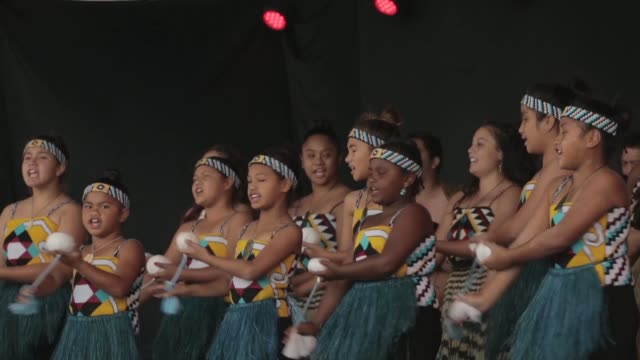 Mid shot of Maori girls dressed in traditional clothing and performing ancestral dance New Zealand Taniwha and Dragon Festival on April 27 2013 in...